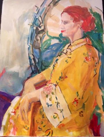 Seated lady with kimono